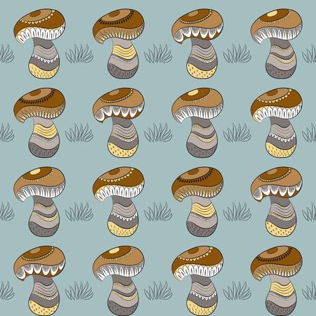 stipe: Pattern with different mushrooms Illustration