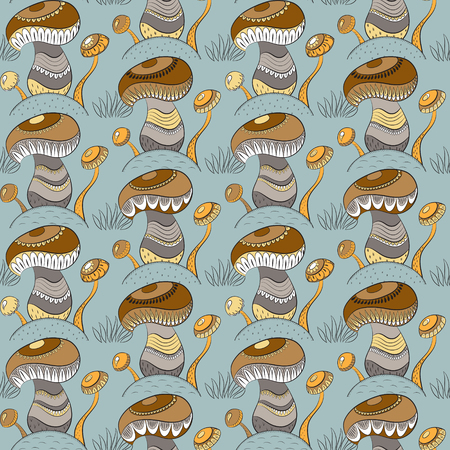 hillock: Seamless pattern with different mushrooms