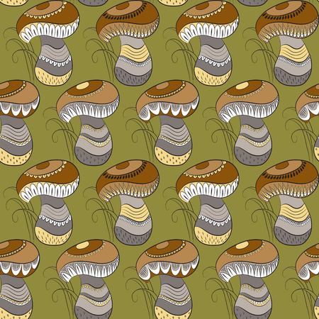 stipe: Seamless pattern with different mushrooms