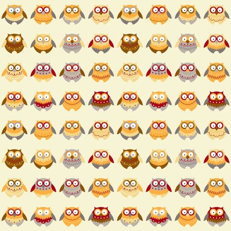 seamless pattern: Seamless pattern with different owls
