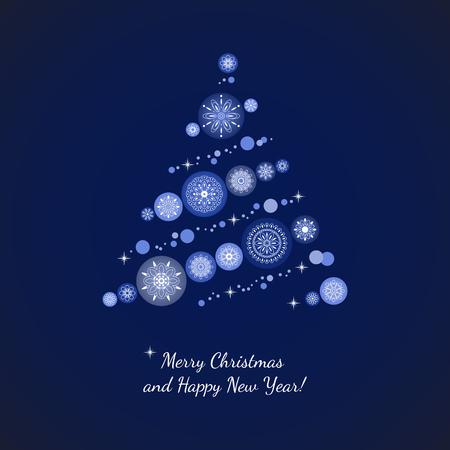 Merry Christmas card with Christmas tree and Christmas balls