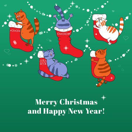 botas de navidad: Tarjeta de la Feliz Navidad con botas de Navidad y gatos