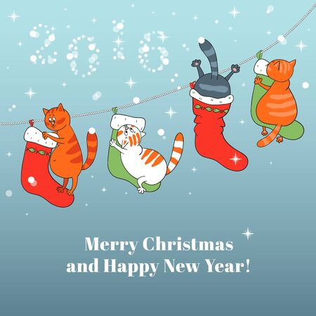 botas de navidad: Merry Christmas card with Christmas Boots, snowflakes and cats Vectores