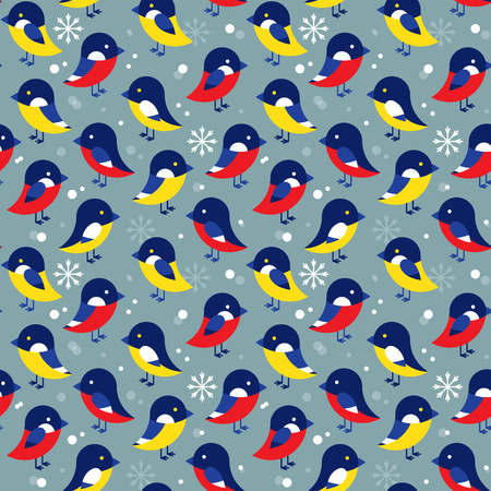 titmouse: Seamless pattern with different birds