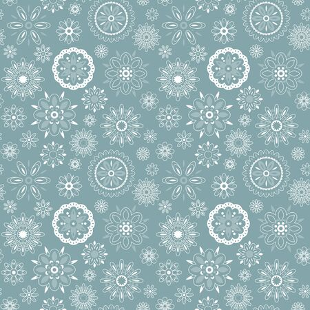 figuration: Seamless pattern with different snowflakes