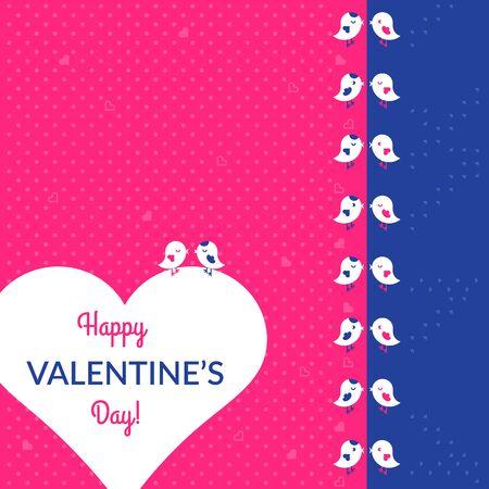 vogelspuren: Valentinstag-Karte mit V�geln und Herzen