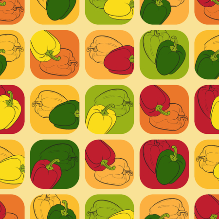figuration: Seamless pattern with colored peppers