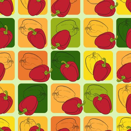 figuration: Seamless pattern with varicolored peppers