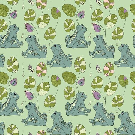 amphibian: Seamless pattern with frogs and flowers