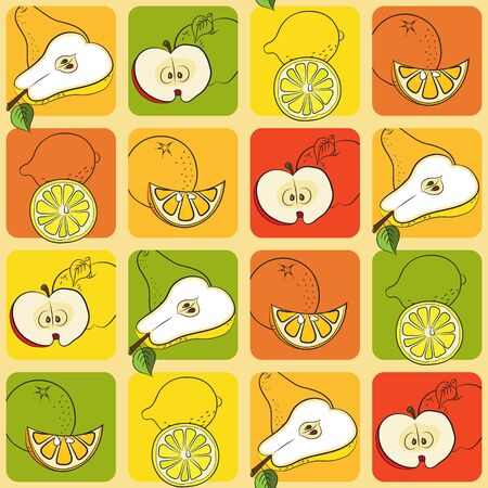 figuration: Seamless pattern with pears, apples, lemons and oranges