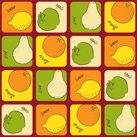 apples and oranges: Seamless pattern with pears, apples, lemons and oranges