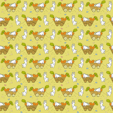 handcart: Seamless pattern with rabbits, carrots and pushcarts Illustration