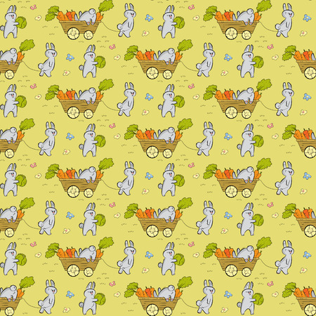 handcart: Seamless pattern with rabbits, carrots, cabbages and pushcarts