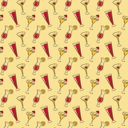 figuration: Seamless pattern with drinks, lemons and cherry Illustration