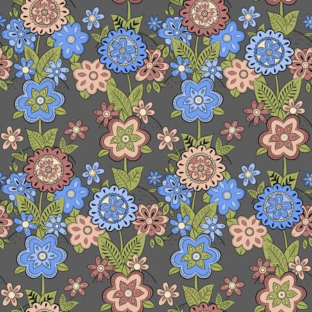 hillock: Seamless pattern with blue and pink flowers