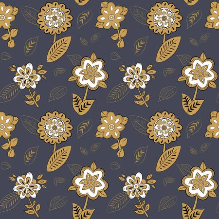 hillock: Seamless pattern with gold flowers