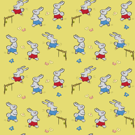 hares: Seamless pattern with hares and sports