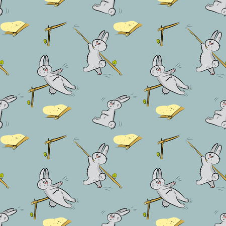 hares: Seamless pattern with different hares Illustration