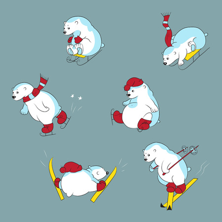 Collection with different polar bears Illustration