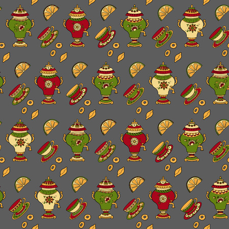 bagels: Seamless pattern with different tea, tea cups, lemons, samovars, cakes and bagels Illustration