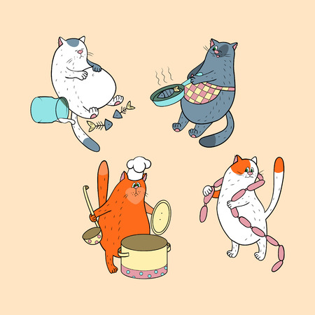 Collection with cats and food Illustration