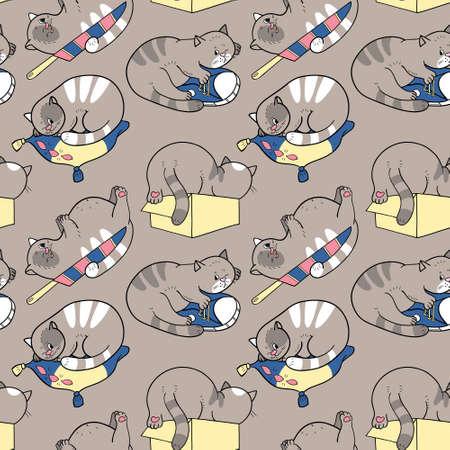 Seamless pattern with sleeping cats Çizim