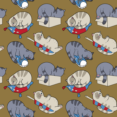 A seamless pattern with sleeping cats.