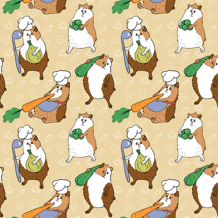 Pattern with guinea pigs and food Stock Illustratie