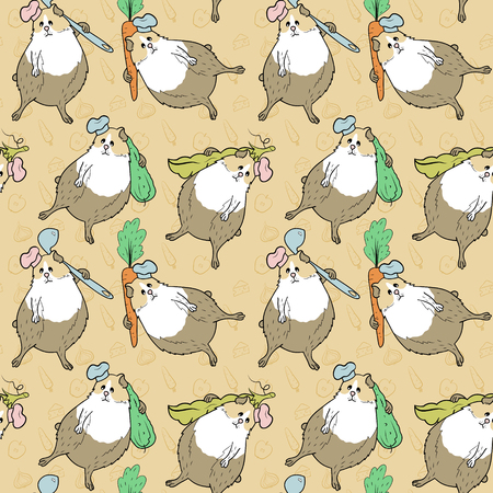 Pattern with guinea pigs and different food