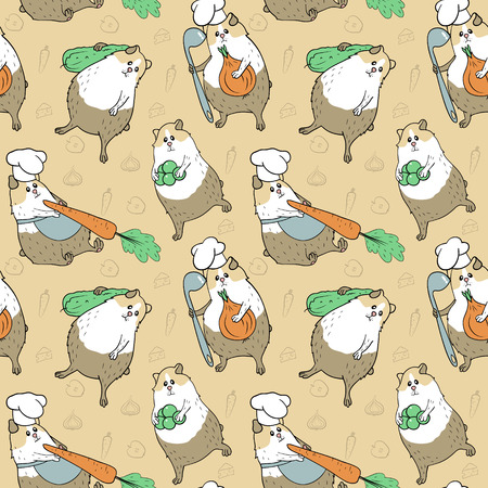 Seamless pattern with guinea pigs in beige colours and different vegetables