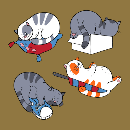 Collection with sleeping cats Vector illustration. Çizim