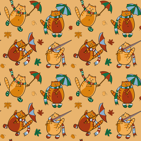 Seamless pattern with cats with umbrellas