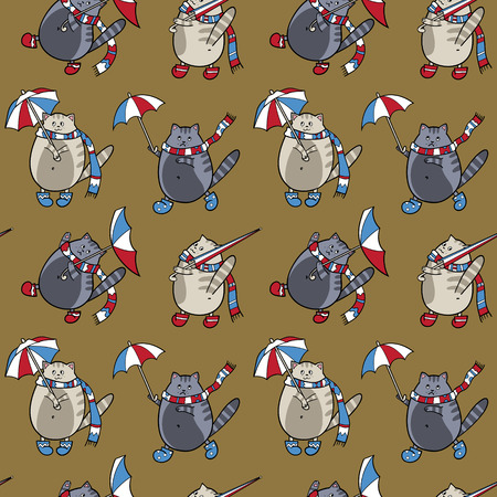 Seamless pattern with cats and umbrellas in white, blue, red and gray colors