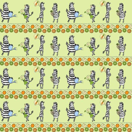 Seamless pattern with different zebras and different fruits