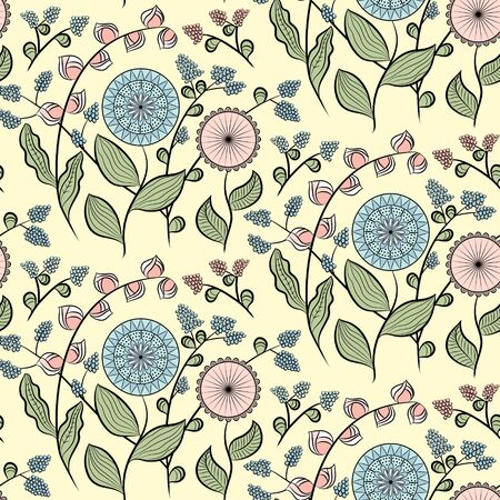 Seamless pattern with different flowers. Floral vector background. Buds, flowers and berries. Pink and blue tones. Ð¡an be used for wallpapers, pattern fills, surface textures. Ilustração