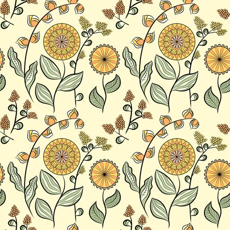 Seamless pattern with different flowers. Floral vector background. Buds, flowers and berries. Yellow, orange and greentones. Ð¡an be used for wallpapers, pattern fills, surface textures.