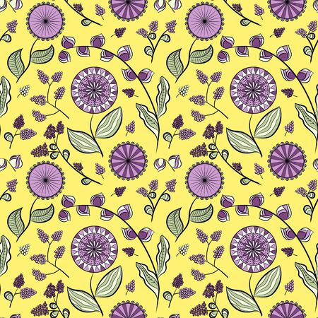 Seamless pattern with different flowers and berries. Floral vector background. Buds, flowers and berries. Lavender tone. Ð¡an be used for wallpapers, pattern fills, surface textures Ilustração
