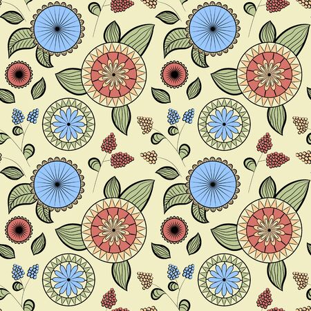 Seamless pattern with different flowers and berries. Floral vector background. Buds, flowers and berries. Pink, blue, yellow and green tones. Ð¡an be used for wallpapers, pattern fills, surface textures
