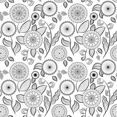 Seamless pattern with different flowers and berries. Floral vector background. Buds, flowers and berries. Black tone on the white background. Ð¡an be used for wallpapers, pattern fills, textile, surface textures