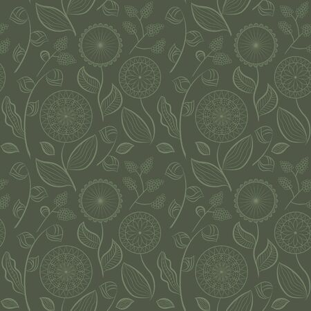 Seamless pattern with different flowers and berries. Floral vector background. Buds, flowers and berries. Green tones. Ð¡an be used for wallpapers, pattern fills, textile, surface textures