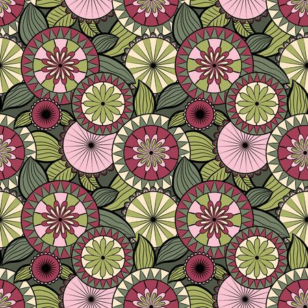 Seamless pattern with different flowers and berries. Floral vector background. Buds, flowers and berries. Green, pink and burgundy tones.