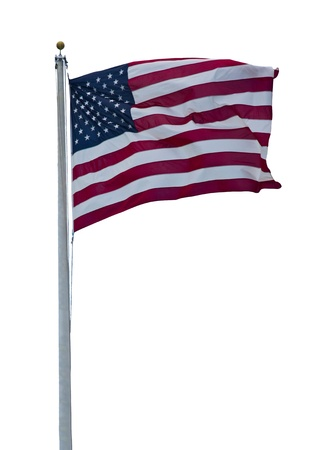 American flag blowing in the wind isolated on white background