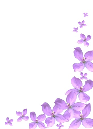 Purple floral border with copy space Stock Photo