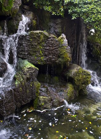 Waterfall flowing over mossy rock photo