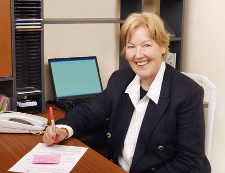 telework: Happy business woman II Stock Photo