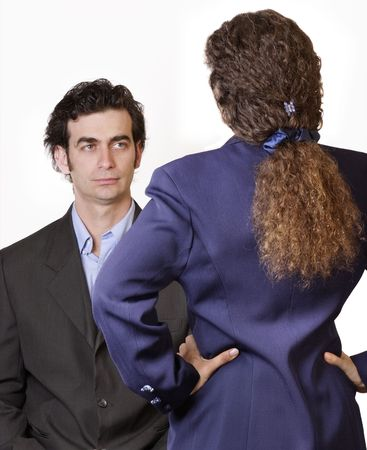 angst: Man woman confrontation Stock Photo