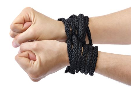 mislead: Ladys hands tied in black rope on white background