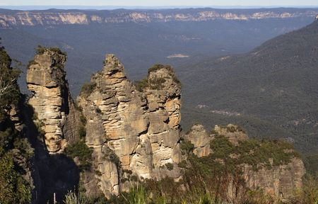 plateau point: The Three Sisters at the Blue Mountains, Australia Stock Photo