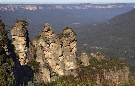 breakaway: The Three Sisters at the Blue Mountains, Australia Stock Photo