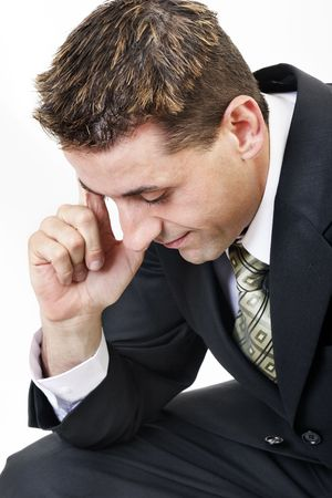 assimilate: Businessman thinking, close up Stock Photo